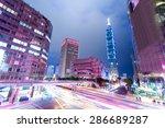 busy traffic light trails in...   Shutterstock . vector #286689287