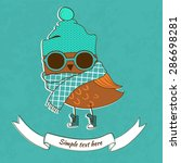 trendy owl in a glasses. vector ... | Shutterstock .eps vector #286698281