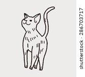cat doodle drawing | Shutterstock .eps vector #286703717