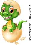cute dinosaur cartoon hatching | Shutterstock .eps vector #286708415
