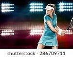 beautiful girl tennis player... | Shutterstock . vector #286709711