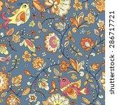 bird and flower ornament... | Shutterstock .eps vector #286717721