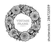 wreath of roses  peonies.... | Shutterstock .eps vector #286722059