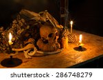 Skull And Pile Of Bone With...