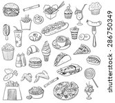 doodle icon fast food | Shutterstock . vector #286750349