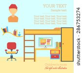 teenager bedroom flat design... | Shutterstock .eps vector #286753274