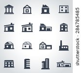 vector black buildings icon set. | Shutterstock .eps vector #286785485