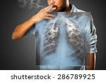 man smoking with x ray lung ... | Shutterstock . vector #286789925