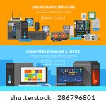 beautiful set of colorful flat... | Shutterstock .eps vector #286796801
