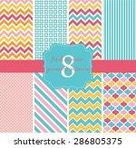 8 fresh summer geometric... | Shutterstock .eps vector #286805375