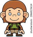 a cartoon hiker monkey smiling.   Shutterstock .eps vector #286815614