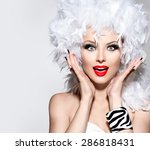 funny surprised woman in white... | Shutterstock . vector #286818431
