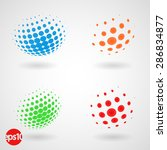 Set Of Color Dotted 3d Spheres...