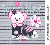 cute teddy bear girl big sister ... | Shutterstock .eps vector #286846154