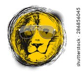 lion head with sun glasses.... | Shutterstock .eps vector #286856045