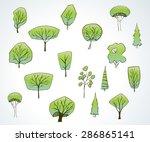 illustration of green trees in... | Shutterstock .eps vector #286865141
