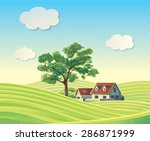 Hilly Rural Landscape With...