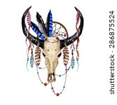 watercolor buffalo skull ... | Shutterstock .eps vector #286875524