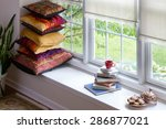 books  coffee and cookies with... | Shutterstock . vector #286877021