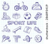 icon set fitness. hand drawn... | Shutterstock . vector #286893419