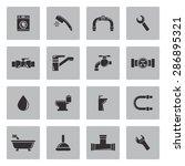 vector black plumbing icons set | Shutterstock .eps vector #286895321
