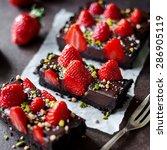 chocolate strawberry tarte | Shutterstock . vector #286905119