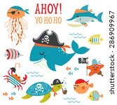 set of cute undersea pirate... | Shutterstock .eps vector #286909967