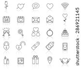 valentine's day line icons with ... | Shutterstock .eps vector #286921145