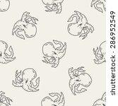 octopus doodle seamless pattern ... | Shutterstock .eps vector #286952549