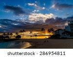 dramatic tropical beach sunset... | Shutterstock . vector #286954811