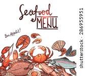 Hand Drawn Color Seafood Menu...