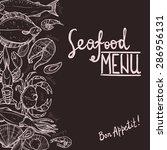 Hand Drawn Seafood Menu On The...