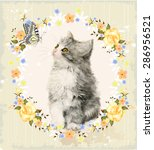 vintage card with fluffy kitten ... | Shutterstock . vector #286956521