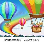 children riding balloons at... | Shutterstock .eps vector #286957571