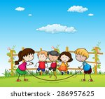 children boys and girls playing ... | Shutterstock .eps vector #286957625