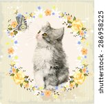 vintage card with fluffy kitten ... | Shutterstock .eps vector #286958225