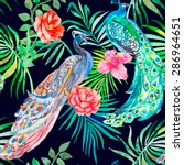 beautiful peacock pattern.... | Shutterstock . vector #286964651