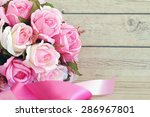 flowers over grunge wooden... | Shutterstock . vector #286967801