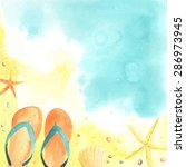 Watercolor Card With Seaside ...