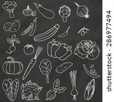 vegetable icons hand drawn with ... | Shutterstock .eps vector #286977494