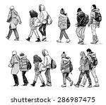 schoolchildren on excursions | Shutterstock . vector #286987475