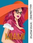Miami Beach Girls In Orange Hat