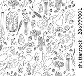 hand drawn seamless vegan food...   Shutterstock .eps vector #286999001