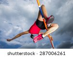 female athlete in high jump in... | Shutterstock . vector #287006261