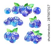 blueberries icons set with... | Shutterstock . vector #287007317
