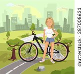 landscape with girl and bicycle.... | Shutterstock .eps vector #287008631