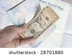 an open passport with dollars... | Shutterstock . vector #28701880