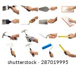 A Set Of Hands Holding Tools O...