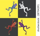 four brightly colored frogs on... | Shutterstock .eps vector #28704391