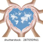 hand and clouds   concept | Shutterstock . vector #287050961